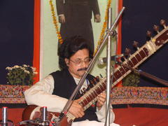 Lost between the strings and the tunes...Dr Tapendranath Mullick performing Rag Bhup Kalyan